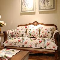 棉田园美式乡村防滑沙发垫四季布艺坐垫沙发巾斜纹夹棉定做