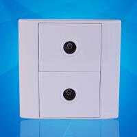 飞利浦墙壁面板开关插座86型 Q4 802TV双电视插座有限电视插座