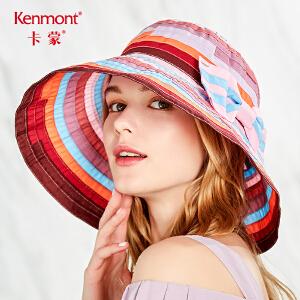 卡蒙盘边大檐帽防紫外线太阳帽女夏沙滩波西米亚遮阳帽出游可折叠3562