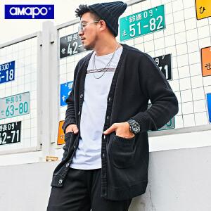 AMAPO潮牌大码男装加肥加大码开衫毛衣外套男冬季加厚保暖针织衫