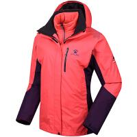 KELME卡尔美 K46C1010 女式户外冲锋衣 三合一防风透气保暖外套 棉内胆两件套登山服