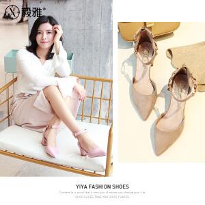 【毅雅】2018春季新款单鞋女绒面粗跟高跟中空一字式扣带女鞋 YD8WM1858