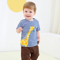 夏季男女童卡通印花短袖套装婴儿宝宝外出休闲T恤两件套