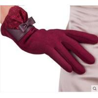 不倒绒蕾丝蝴蝶结精美拼接手套保暖加绒韩版休闲女士触摸屏手套