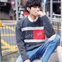 秋冬季男士毛衣圆领针织衫秋装衣服青少年个性长袖T恤打底衫外套