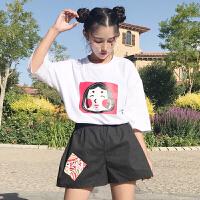 韩版时尚休闲套装春夏女装宽松短袖卡通打底衫T恤上衣+短裤两件套