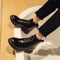 秋冬季黑色马丁靴男加绒学生百搭英伦厚底增高防水高帮皮鞋