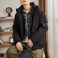 【限时抢购】唐狮男士羽绒服男短款潮牌新款加厚连帽韩版工装冬季外套