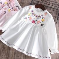 2018春夏新品 女童花朵刺绣连衣裙 儿童蕾丝领长袖裙衫宝宝裙子