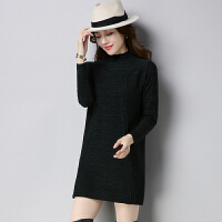 秋冬新款毛衣女中长款打底衫保暖套头半高领宽松加厚长袖羊毛衫