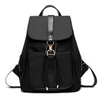 女士包包休闲欧美双肩包日韩版潮时尚尼龙帆布背包女简约学生书包 黑色
