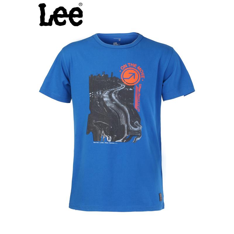 Lee 【断码】男士夏款圆领短袖T恤蓝色男式L12604J21E49