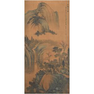 N1643 董其昌《山林飞瀑》(八大山人、石涛、傅山提边拔,并有多位名家收藏章。)
