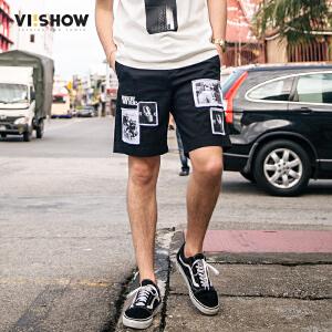 VIISHOW夏装新品休闲短裤男棉质人像印花弹性男士五分裤潮牌