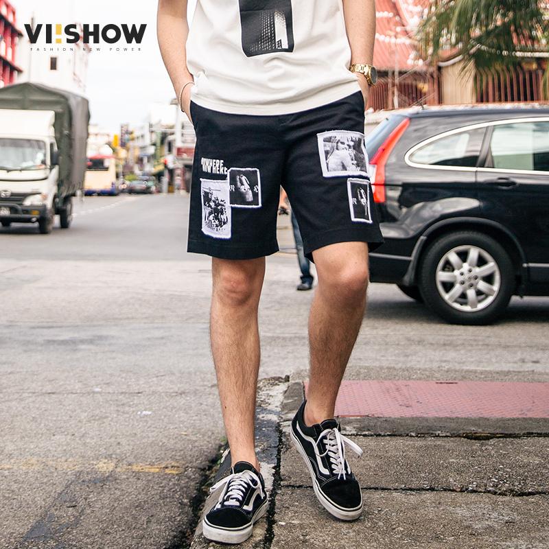 VIISHOW夏装新品休闲短裤男棉质人像印花弹性男士五分裤潮牌满199减20/满299减30/满499减60 全场包邮