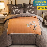 秋冬季磨毛四件套全棉纯棉被套加厚床单网红款床上用品被罩三件套 1.8米床【被套200*230 床单245*25