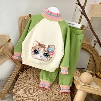 女宝宝套装冬装新款卡通猫咪卫衣长裤两件套