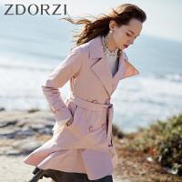zdorzi卓多姿2018秋装新款纯色腰带双排扣荷叶边风衣外套636E115