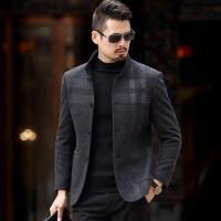 呢子大衣男2017新款男装冬季加厚中年休闲中长款修身羊毛呢外套 灰色
