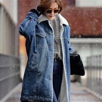 2017秋冬新款时尚韩版女装牛仔外套加厚中长款羊羔毛大衣女 牛仔蓝