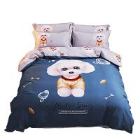 卡通儿童四件套纯棉男孩女1.5米床单公主风全棉磨毛被套床上用品 2.0m(6.6英尺)床220 240被套