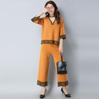 套装女秋季新款韩版宽松阔腿裤套装时尚九分裤 针织衫两件套