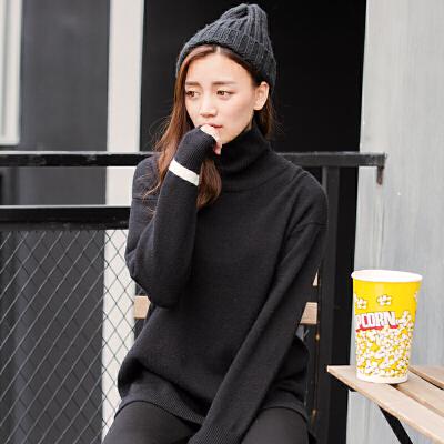 【1.5折价44.9元】唐狮冬装新款毛衣女高领套头黑色中长款打底衫长袖针织衫上衣 限时特惠
