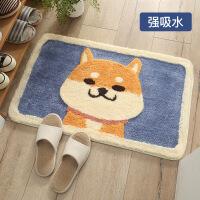 【一件3折】卡通秋田犬植绒地毯地垫 家用卫生间门口浴室防滑垫吸水脚垫