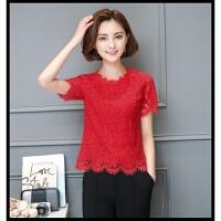 春秋冬季新款女士加绒加厚花边薄款打底衫短袖长袖蕾丝上衣 短款 红色 短袖