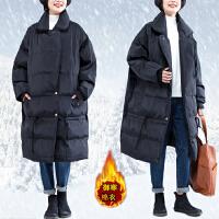加肥加大码女装200斤胖mm冬装外套百搭显瘦加厚长款过膝棉衣