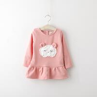 冬装新款卡通小羊儿童荷叶边连衣裙 儿童加绒裙子 177338