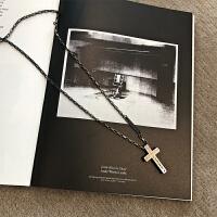 复古十字架项链男女欧美风潮牌百搭吊坠创意个性百搭情侣 古银色
