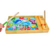 【米米智玩】木制智玩具双面立体磁性小猫钓鱼婴幼儿童游戏2-3-4岁拼图识鱼板