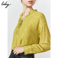 【不打烊价:194元】 Lily2019秋新款女装垂顺肌理闪丝宽松飘逸系绳长袖雪纺衫8949