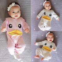 婴儿连体衣服男童女宝宝秋季0岁3个月新生儿休闲长袖秋款薄款爬服