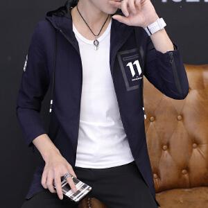 春秋装休闲外套男士韩版潮流帅气修身2017新款学生棒球上衣服夹克连帽