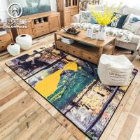 美式抽象艺术沙发茶几地毯 家用客厅卧室床边毯房间短绒防滑地垫