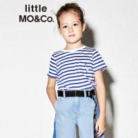 【折后价:107.6】littlemoco夏季新品女童T恤撞色罗纹圆领鹅印花蓝白条纹短袖T恤