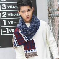 秋冬季新款 男士保暖毛线围巾 韩版学生男女情侣款 冬天加厚