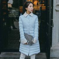 中长款羽绒女羊羔毛单排扣棉衣学生外套翻领17冬新款韩版修身 A7183粉红色