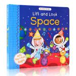 英文原版绘本 Lift and Look Space 精装翻翻书 儿童英文启蒙学习 What Who的句型 科普绘本