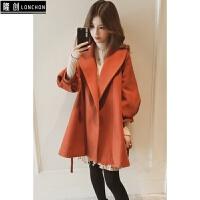 秋冬新款韩版中长款灯笼袖宽松毛呢风衣外套女装系带收腰呢子大衣