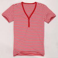 优鲨条纹V领带扣短袖男士T恤 时尚红白条纹