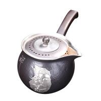 唐丰侧把鎏银茶壶功夫茶具套装陶瓷茶壶家用普洱泡茶器单壶陶