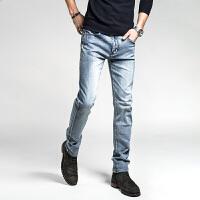 春秋款弹力复古磨白牛仔裤韩版男裤子修身青年男装长裤子潮 灰蓝色