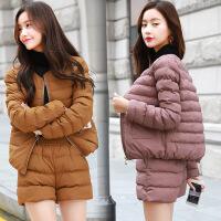 冬季新款短款棉衣女时尚套装两件套韩版修身加厚短裤