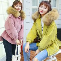 实拍一试就爱上 韩国糖果色貉子真毛领灯芯绒棉衣女工装外套