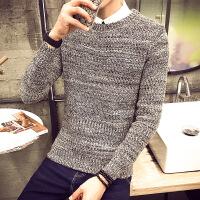 男士毛衣加厚冬季韩版针织衫男圆领毛线衣新款男装套头上衣衫衣潮 灰色 0/M