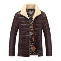 新款促销海宁皮衣翻领真皮羽绒服男装羊羔毛男士短款加绒外套 3