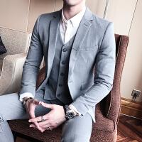 秋冬季新款西装男青年韩版修身黑色小西服潮男英伦商务休闲外套男